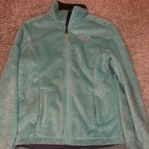 North Face Fuzzy mint green zip-up